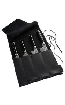 Wunschleder Messer Tasche Küchenmesser, Bio-Rindleder, 4 Köcher, Schwarz