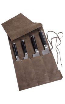 Wunschleder Messer Tasche , Öko-Pferdeleder, 4 Köcher, Vintage Braun