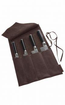 Wunschleder Messer Tasche, gewachstes Rindleder, 4 Köcher, Gaucho Braun