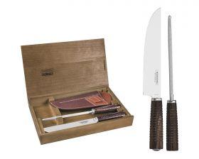 Tramontina Fleischmesser mit Wetzstahl und Leder-Etui
