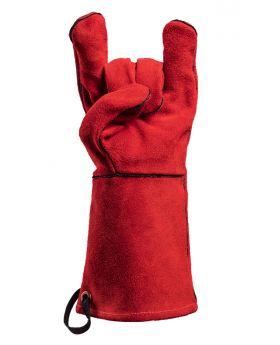 Feuermeister Premium BBQ Grillhandschuh aus hochwertigem Leder in Rot, Größe 10