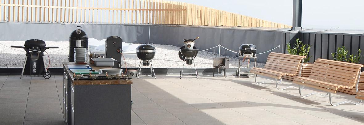 Die überdachte Grillschule am Dach des Grill Heaven